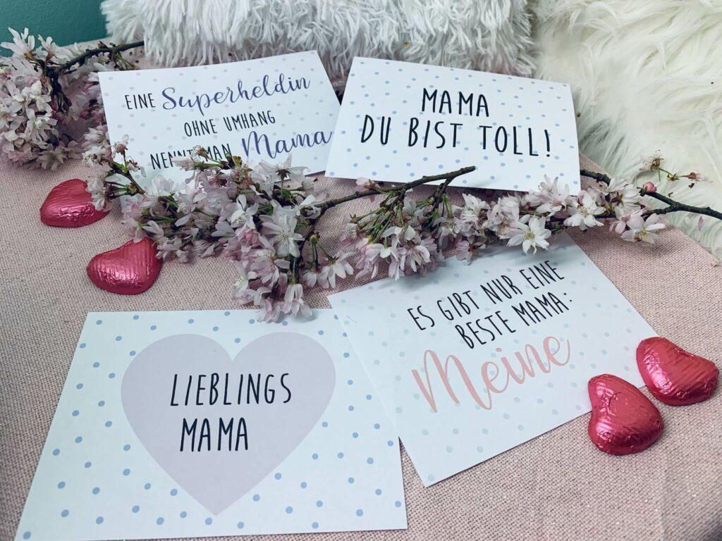 vier Muttertagskarten zum Ausdrucken