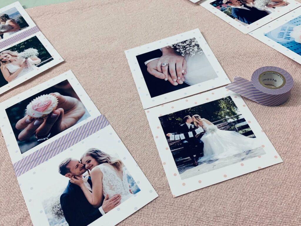 Fotos die teilweise mit Washi Tape zusammengeklebt sind