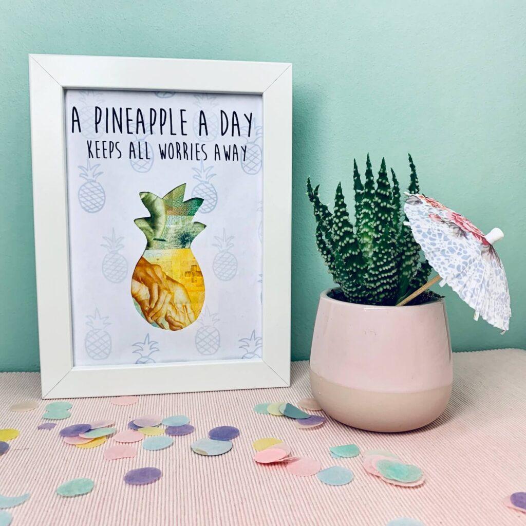 Geldgeschenk Ananas im Bilderrahmen mit Kaktus