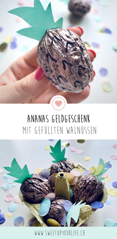 Pinterest Ananas Geldgeschenk aus gefüllten Walnüssen