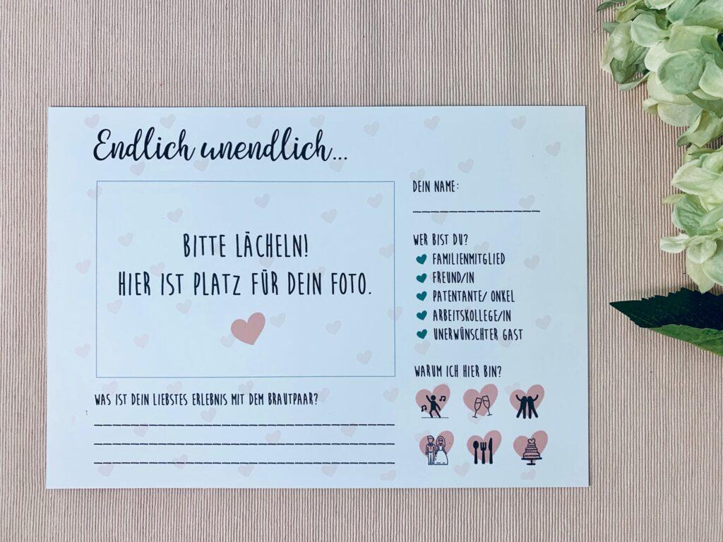 Hochzeit Gästebuchkarten herunterladen