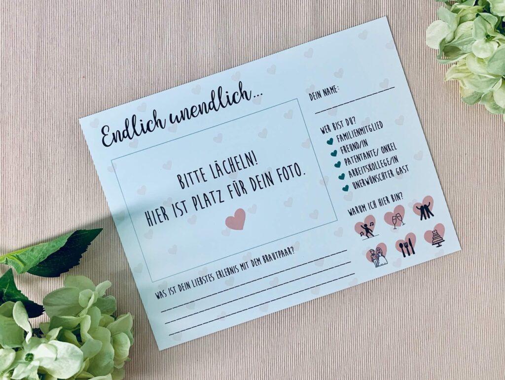 Hochzeit Gästebuchkarten zum Ausfüllen - Vorderseite