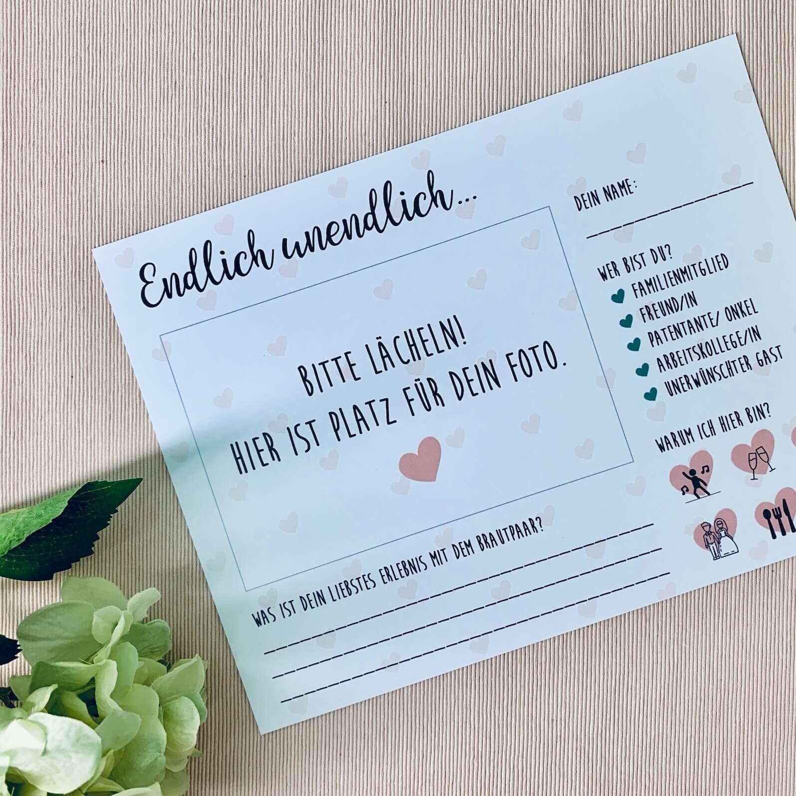Hochzeit Gästebuchkarten zum Ausfüllen mit gratis Vorlage