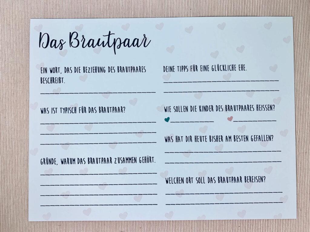 Rückseite der Hochzeit Gästebuchkarten