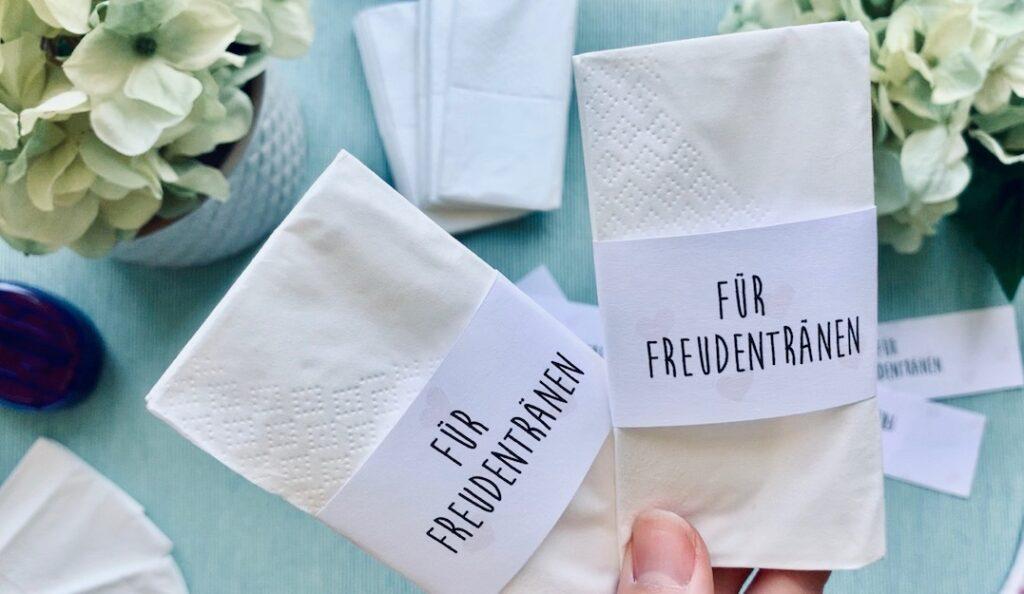 fertige Freudentränen Taschentücher für die Hochzeit