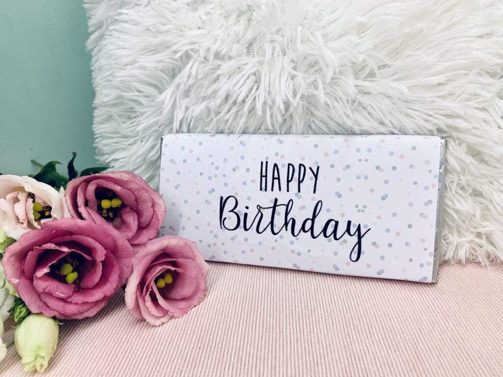 """Geburtstag Schokoladentafel """"Happy Birthday"""""""