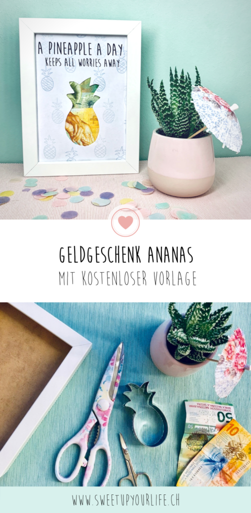 Pinterest Ananas Geldgeschenk im Bilderrahmen