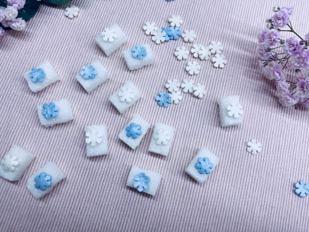 Winterzuckerwürfel mit Schneeflocken