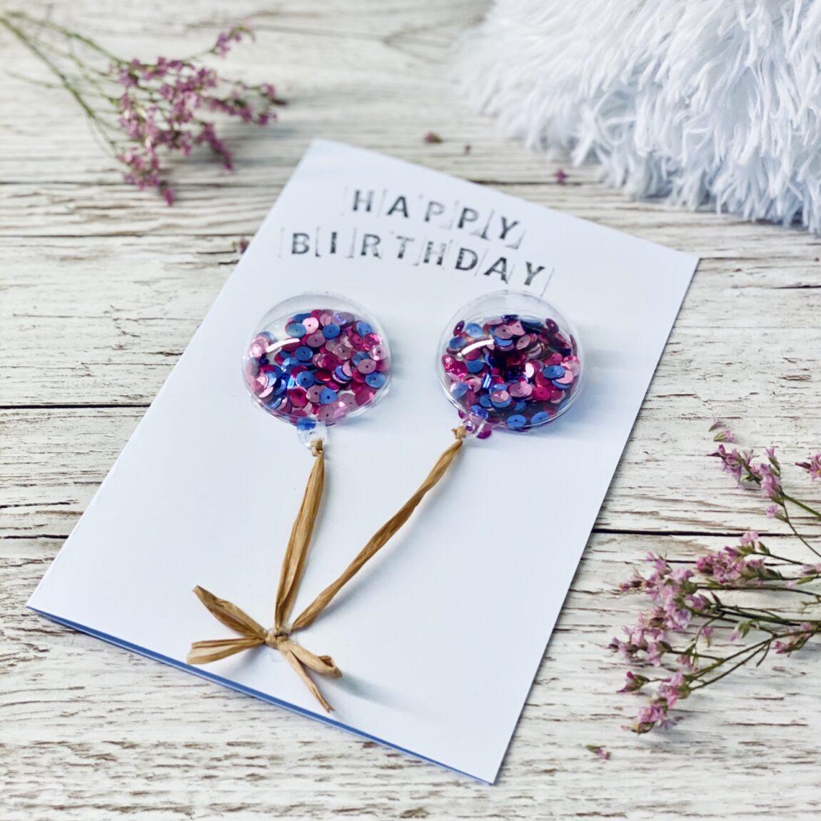 Geburtstagskarte mit Glitzerballons selber machen