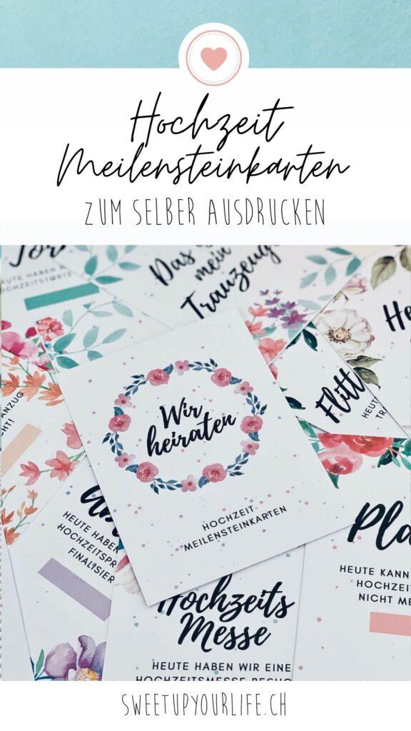 Hochzeit Meilensteinkarten Pin