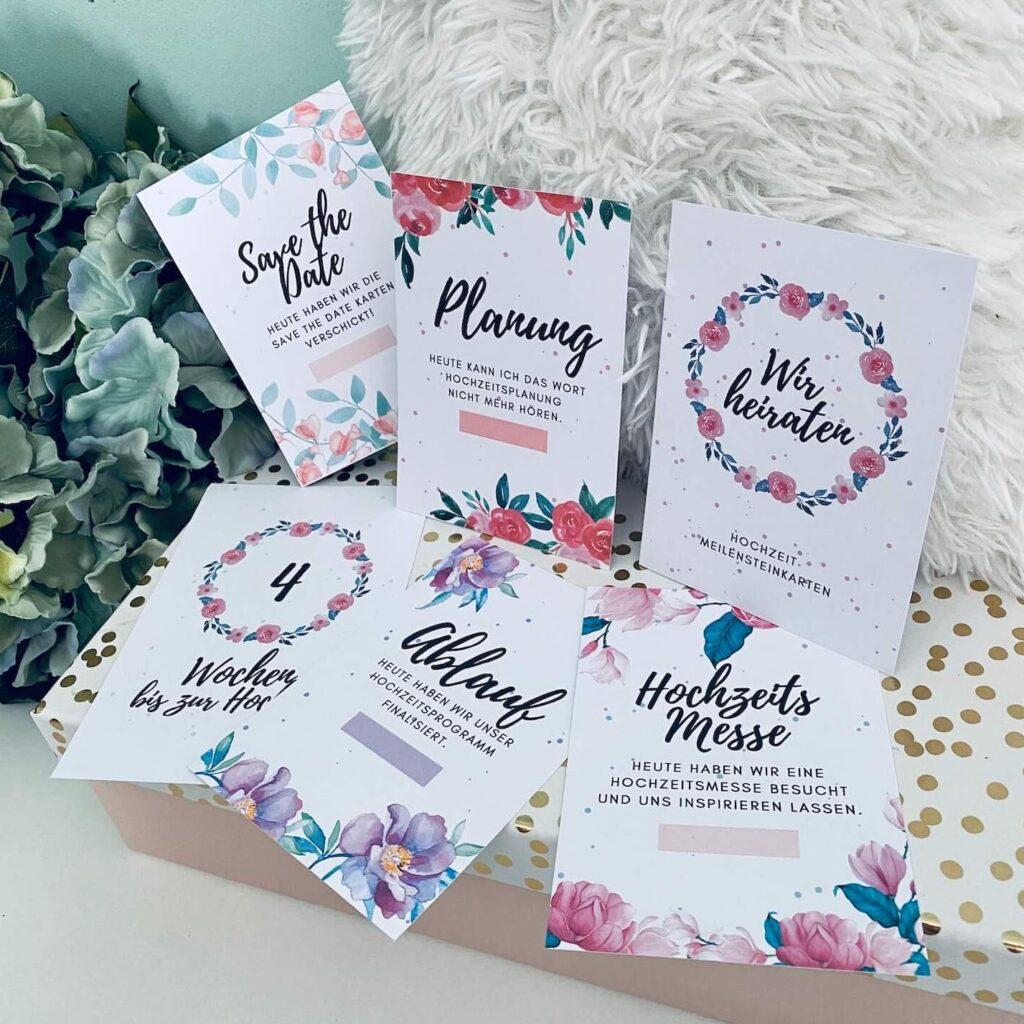 Hochzeit Countdown und Meilensteinkarten zum Ausdrucken