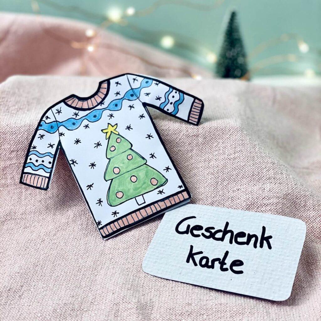Gutscheinkarte verpacken Ugly Christmas Sweater