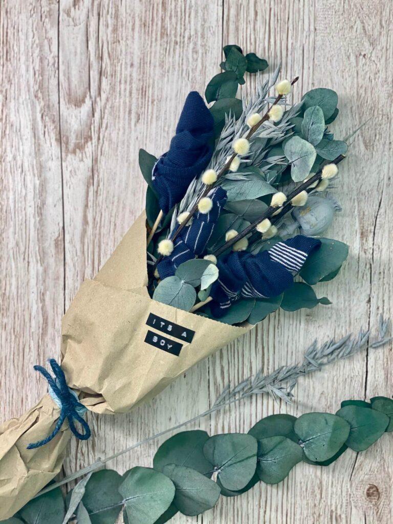 Geburtsgeschenk Babysöckchen Blumenstrauss
