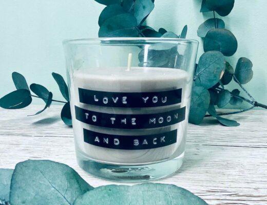 Valentinstaggeschenk Kerze etikettieren