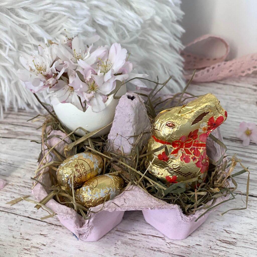Osternest basteln aus Eierkarton