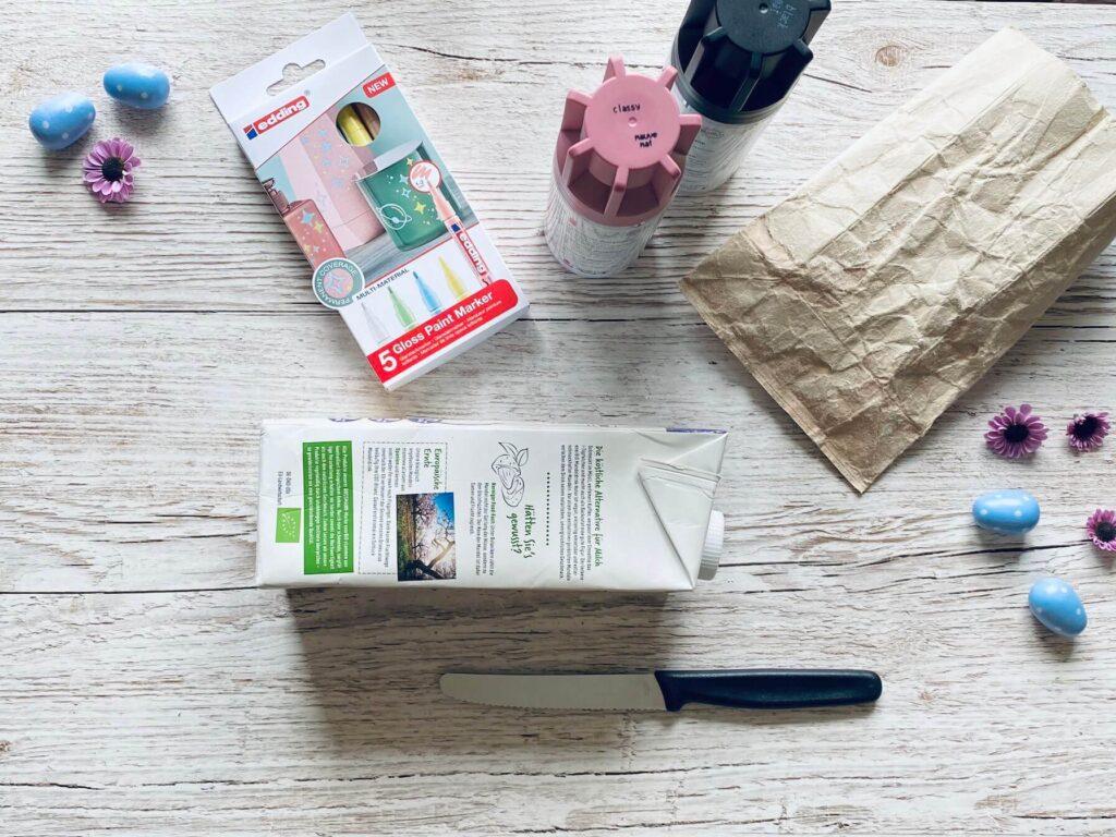 Materialien Milchtüten Osternest gestalten