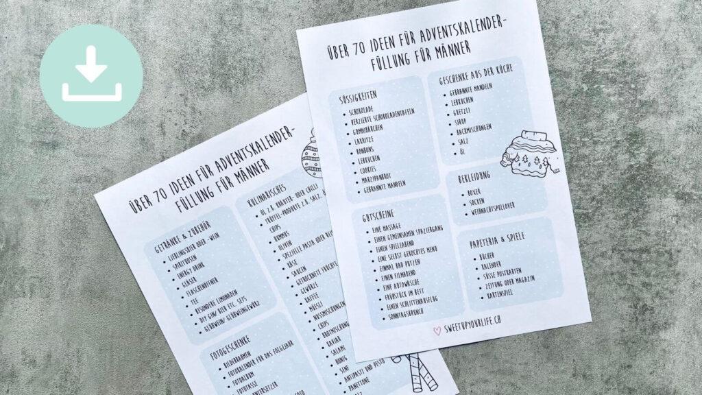 Download Liste Adventskalender-Füllung für Männer